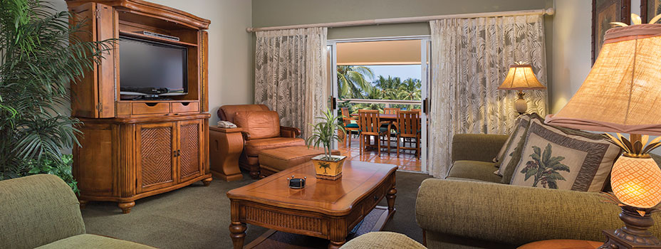 Master Bedroom of a One Bedroom Villa at the Kona Coast Resort
