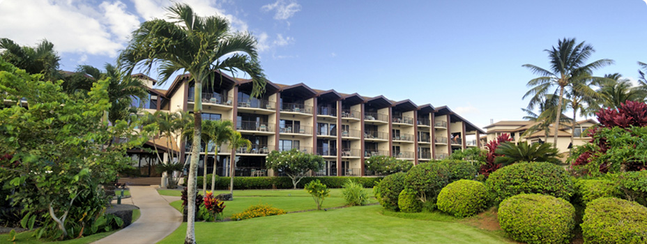 The exterior of the Lawai Beach Resort in Koloa, Hawaii